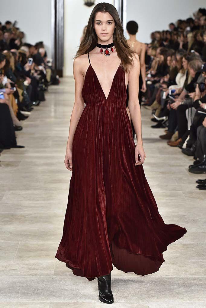Lauren plunge neckline maxi chiffon dress