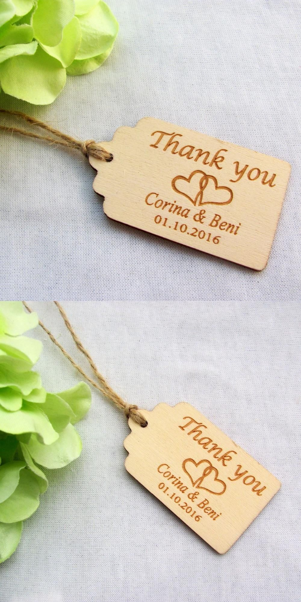 65/200pcs Personalized Engraved Thank You Wedding Tags Wooden Tags ...
