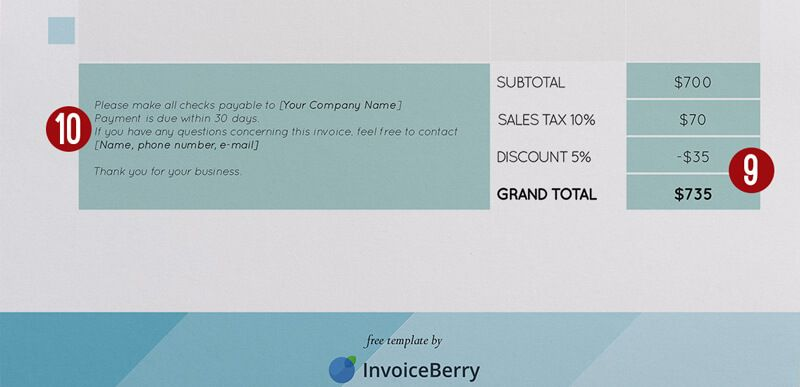 9The total amount being charged 10 The due date for the payment - what is invoice
