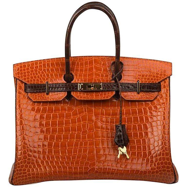 fc85922acf5d Hermès - Birkin 35cm Special Order Bi-color Vibrant Orange   Brown Porosus Crocodile  Gold Hardware Birkin Bag ( 49