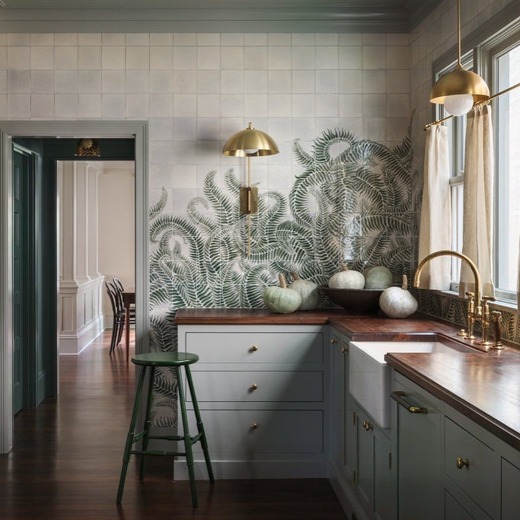 The Kitchen Of This Portland Craftsman Features A Hand Painted Mural Of Sword Ferns Which Took Des Old Home Renovation Shaker Kitchen Cabinets Home Renovation