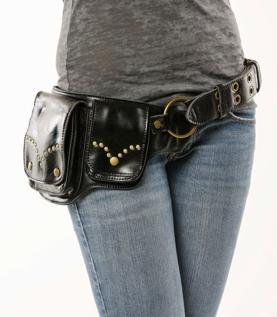 Hip Pack Riveted Design Leather Utility Belt - Black (Beautiful Hip Belt. Great storage. Large enough to store most ANY phone on the market)