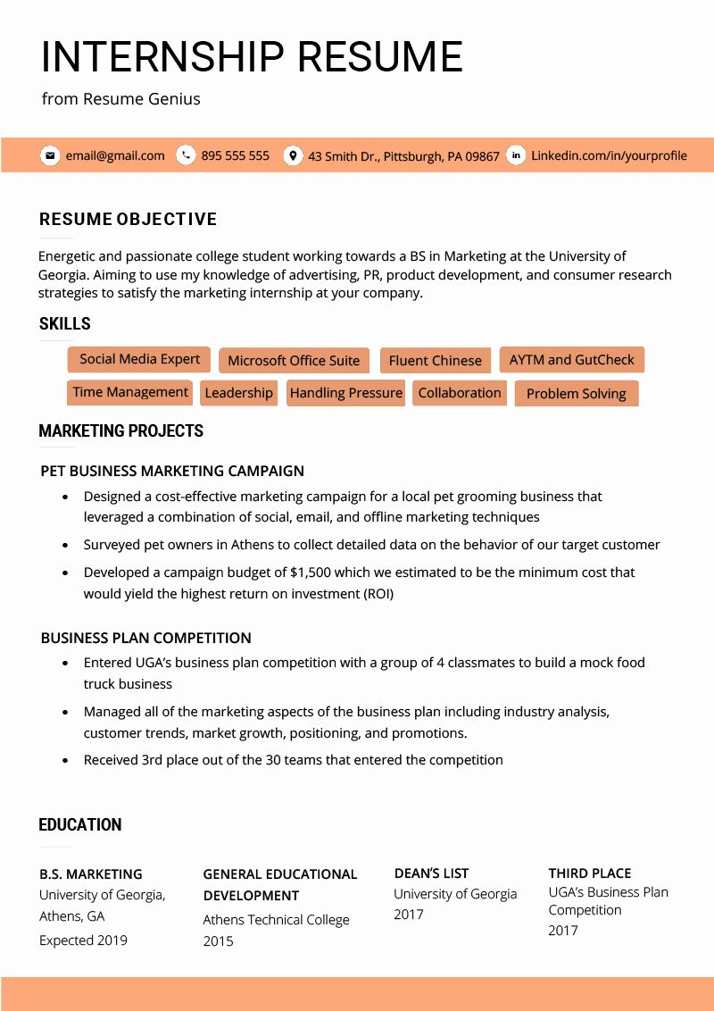 Resume Template for College Students Beautiful Internship