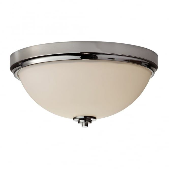Modern classic flush bathroom ceiling light in chrome with opal modern classic flush bathroom ceiling light with polished chrome surround and opal glass diffuser rated for use in zones 1 and aloadofball Images
