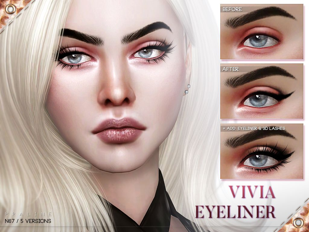 Eyeliner With Shimmery Inner Corner Highlight And Praline Cabelo Sims The Sims Sims 4