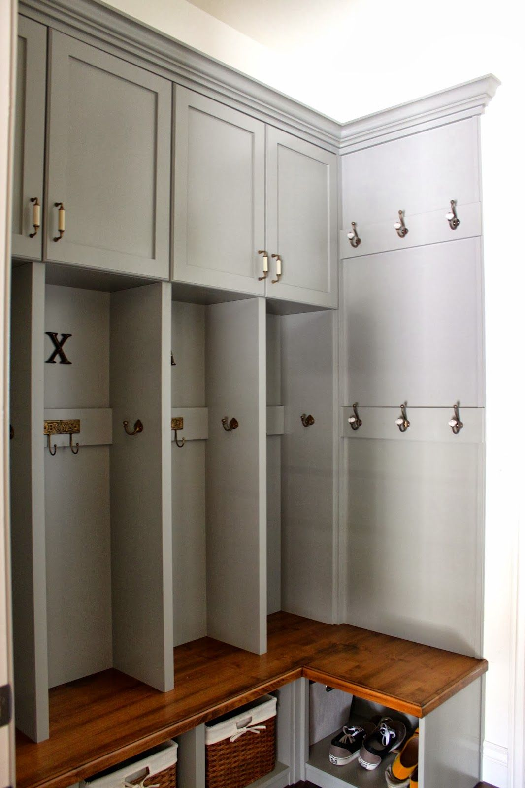 Mudroom Storage Cabinets : Corner mudroom bench this is gorgeous and microwave in
