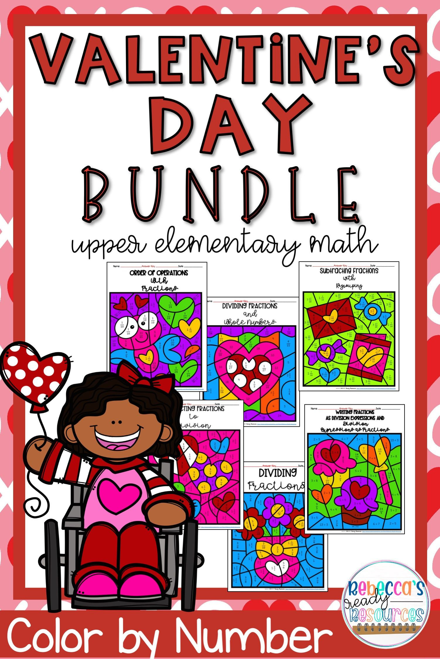 5th Grade Math Worksheets Valentine S Day Color By Number
