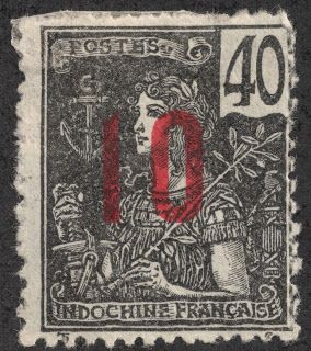 Indochina (French Indochina) 1912 Scott 62 10c on 40c black/bluish 1904-06 surcharged in black or carmine