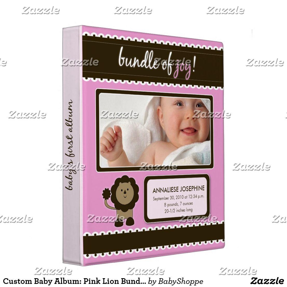 Custom baby album pink lion bundle of joy binder zazzle