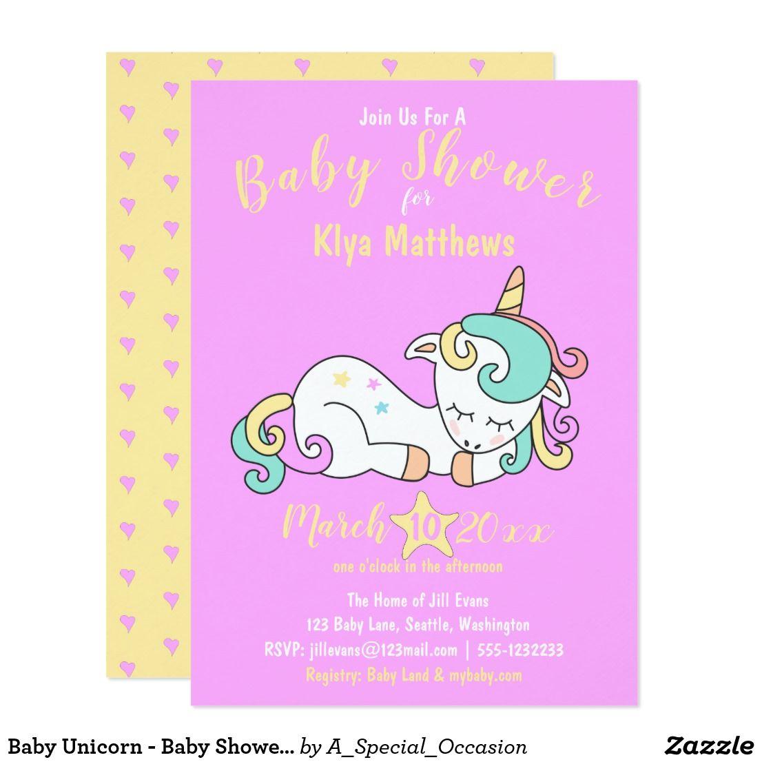Baby Unicorn Baby Shower Invitation Purple Zazzle
