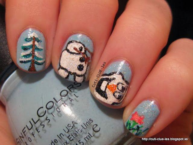 Cuti-CLUE-les: Disney\'s Frozen- Olaf nail art | My winter nails ...