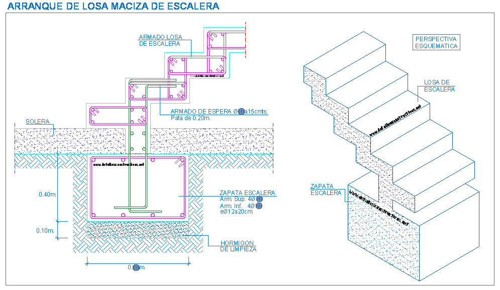 De escaleras zapatas fundaciones gradas losa de for Detalle escalera volada