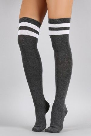 faf9f7bd8a7 Double Stripe Thigh High Socks