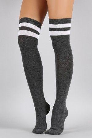 42dcb1b088b Double Stripe Thigh High Socks