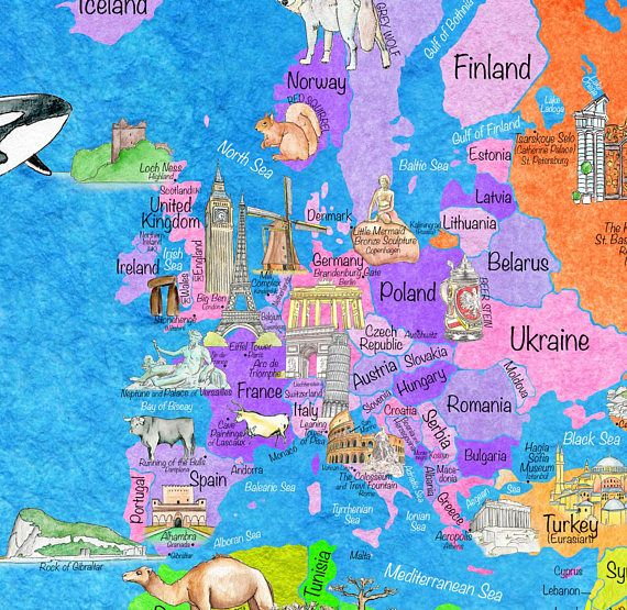 Countries, Landmarks, and WONDERS of the WORLD Art Map for ...
