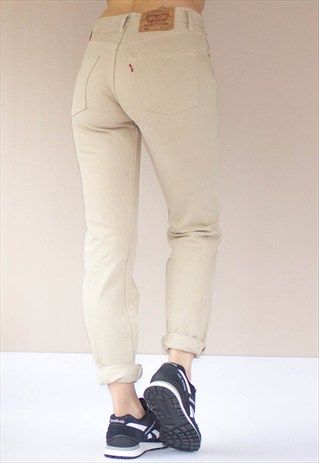 classic free delivery uk cheap sale Vintage+501+Button+Fly+Beige+Levi's+Jeans in 2019   Cream ...