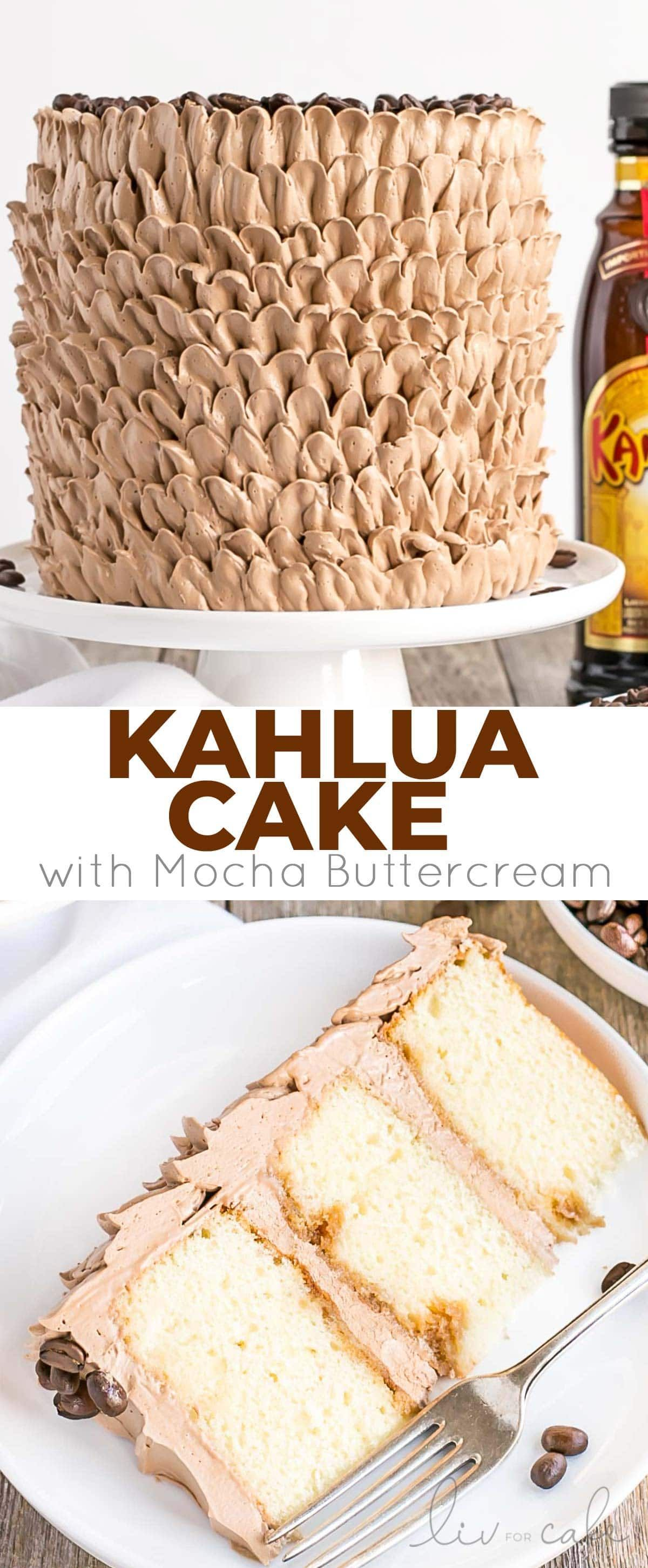 pretty Kahlua Cake is infused with coffee liqueur & espresso, and adorned with billowy mocha buttercream ruffles. |