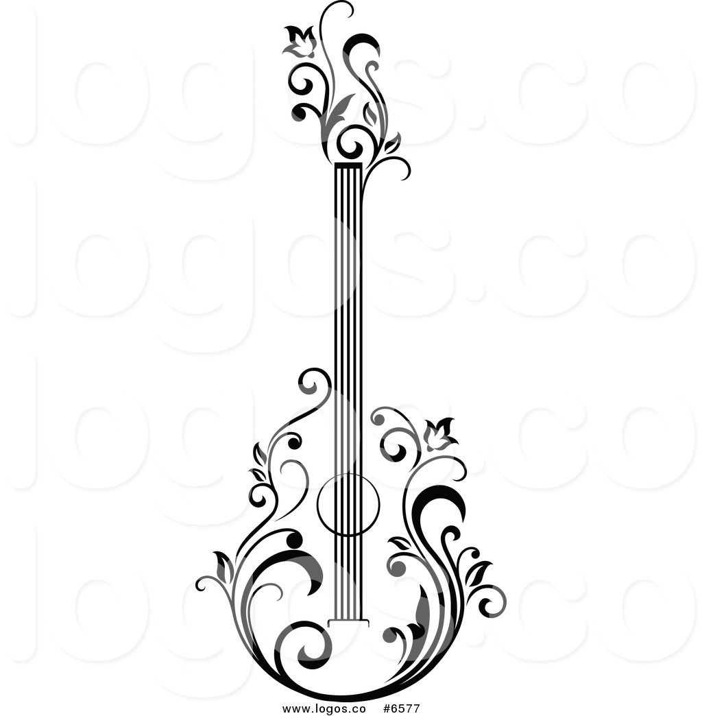 Black And White Acoustic Guitar Clipart