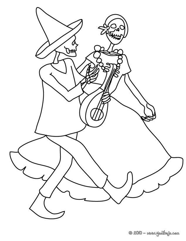Dibujo para colorear catrina y un esqueleto bailando  Dia de los