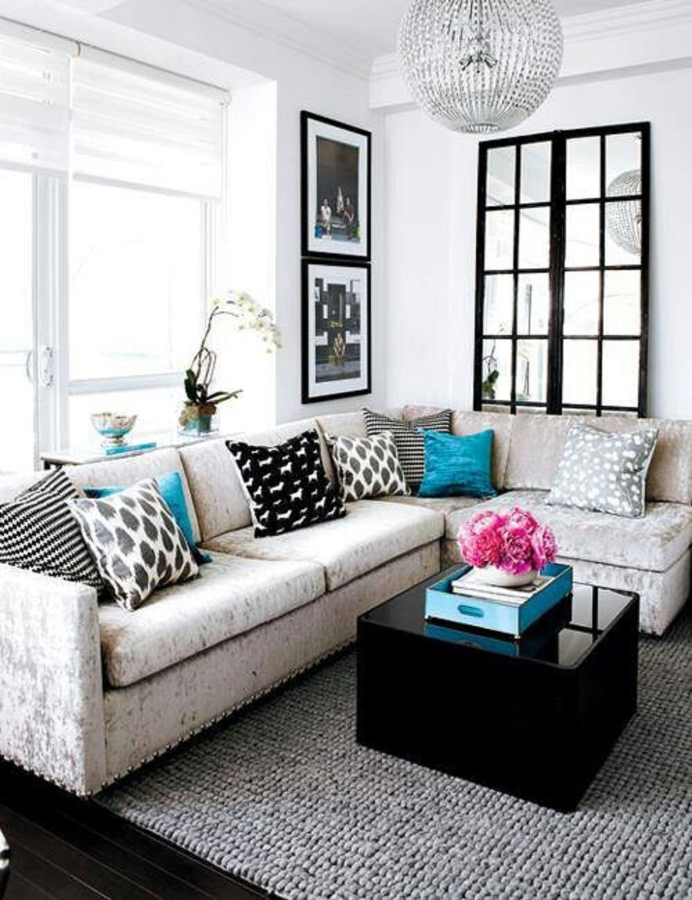 Minimalist Small Living Room Interior With L Shaped Sofa Set And