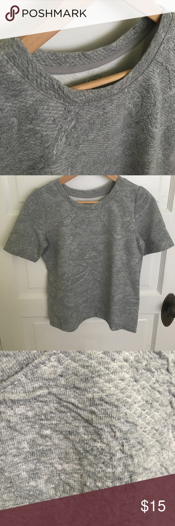 Grey knit top LOFT grey textured knit top. Soft and stretchy. XS. Worn twice. Great for all things casual or making a dressier piece a bit more relaxed. LOFT Tops
