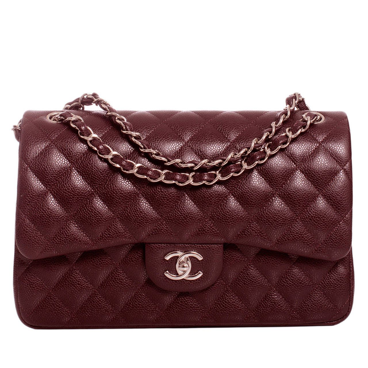 212fd6ad6f38 Chanel Burgundy Quilted Caviar Jumbo Classic 2.55 Double Flap Bag | From a  collection of rare