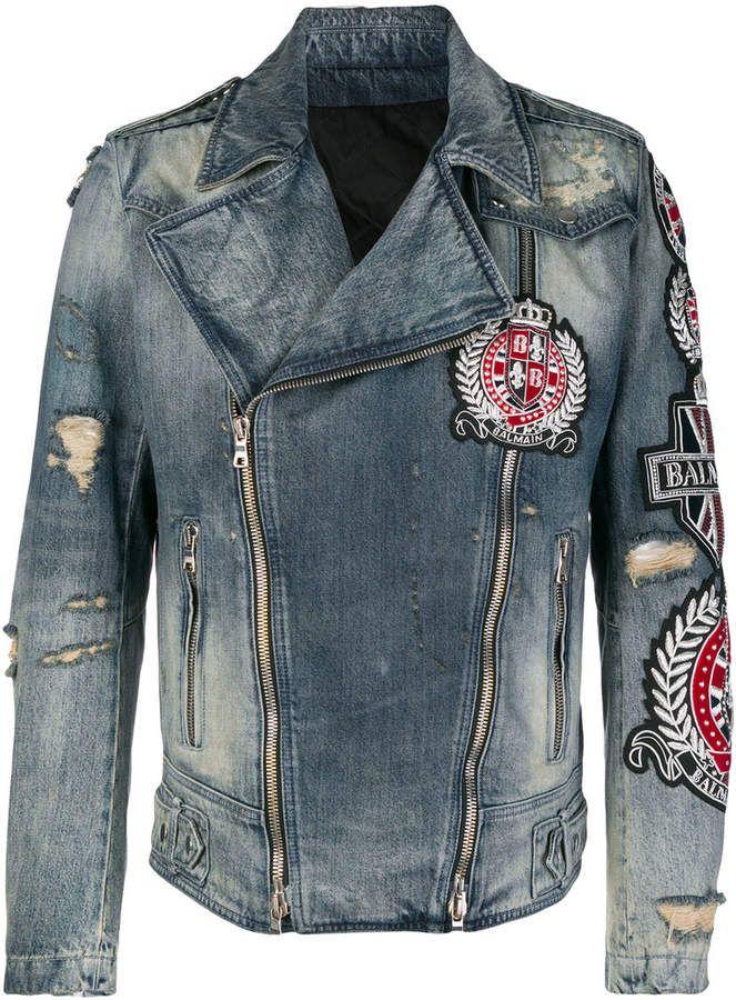 Balmain patch embroidered denim biker jacket Denim biker