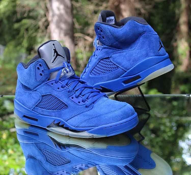 "1b9b59c6db64ff Nike Air Jordan 5 Retro ""Blue Suede"" Black 136027-401 Men s Size 11.5"