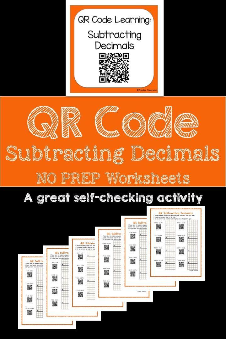 Qr Code Subtracting Decimals Worksheets Qr Codes Worksheets And