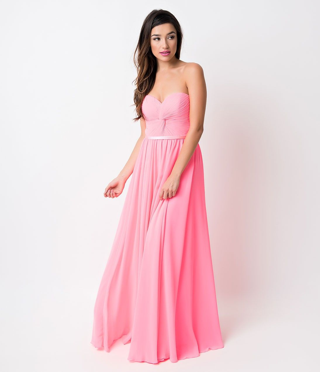 Neon fuchsia chiffon strapless sweetheart corset long prom gown