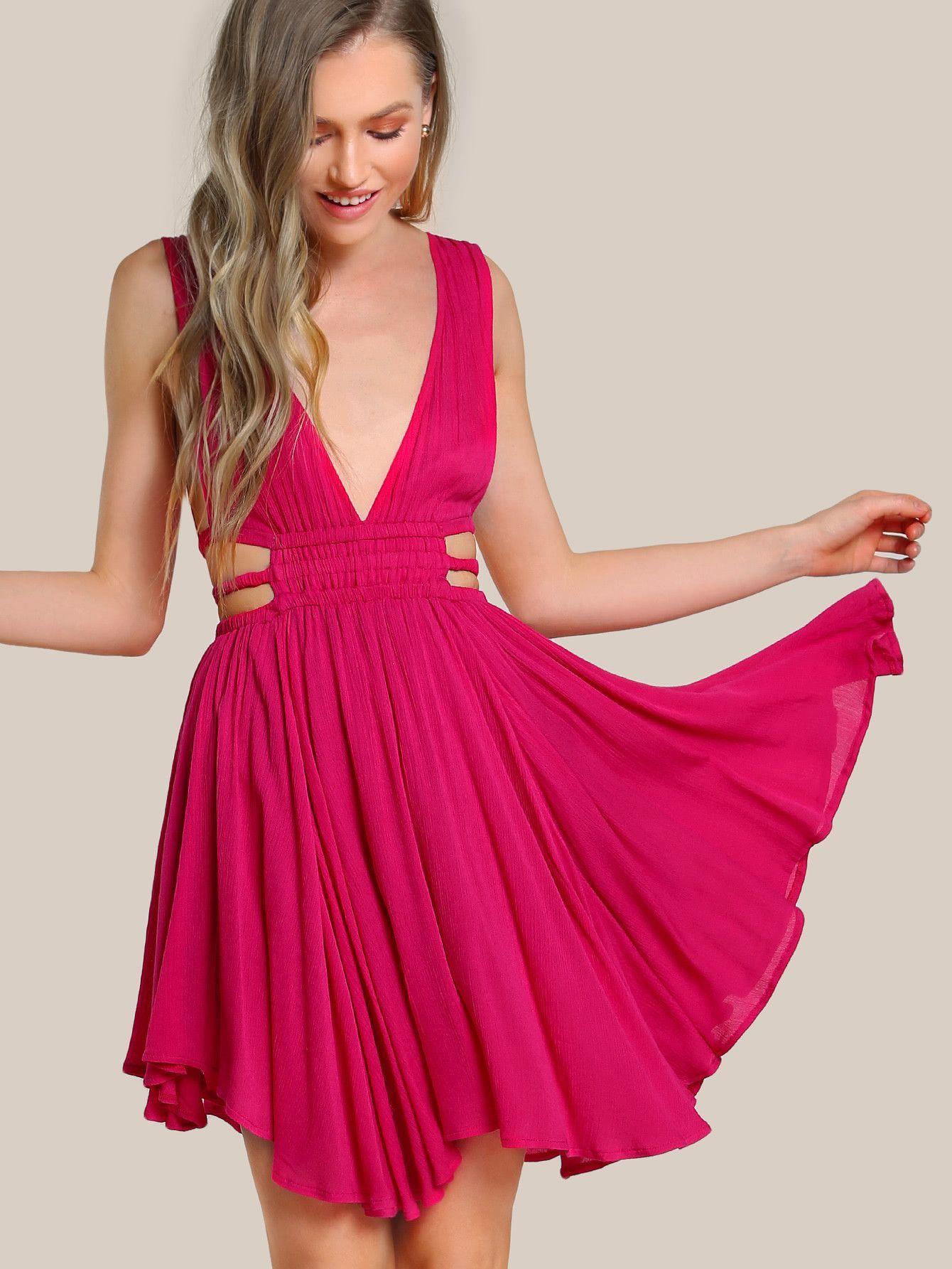 1ff0220aad62 Plain Hot Pink Double Plunge Deep V-Neck Sleeveless Shirred Strap Waist  Mini Dress