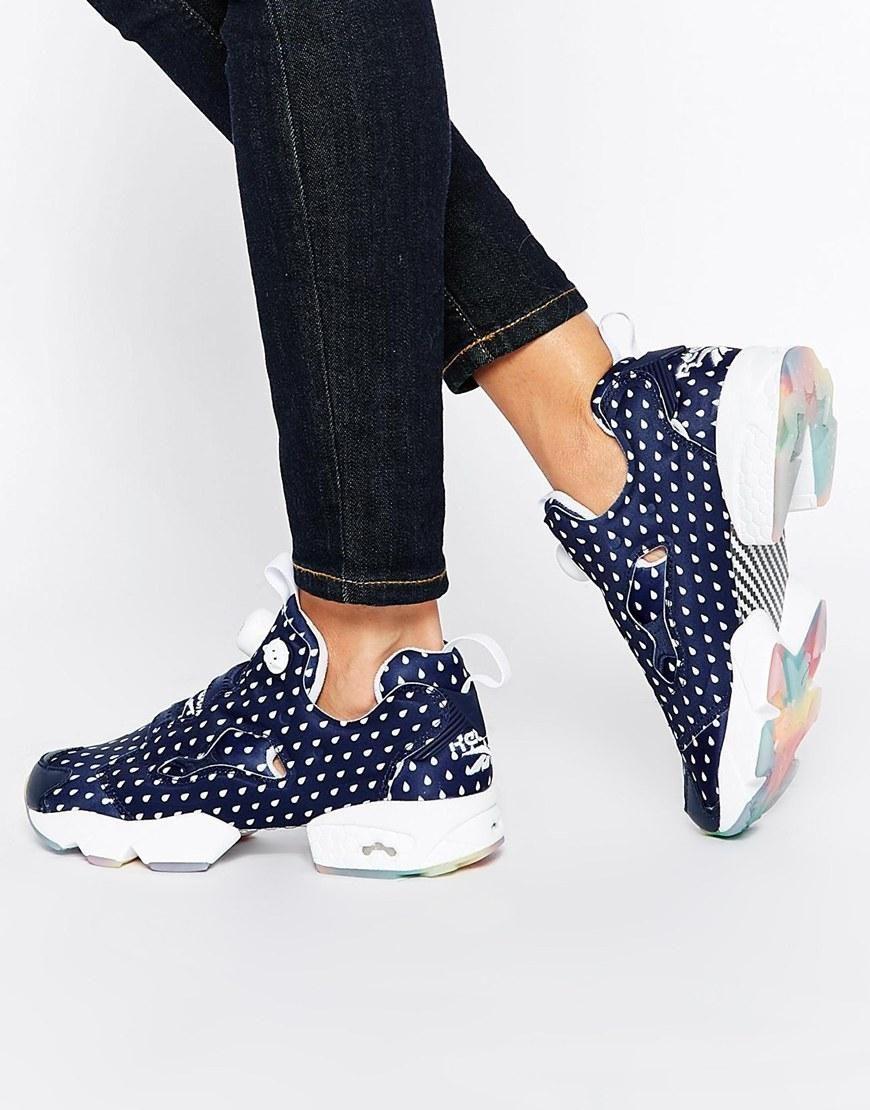 431a54ef2 Reebok | Reebok Insta Pump Fury Navy Print Sneakers at ASOS | Shoes ...
