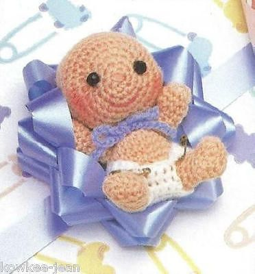 Baby Bow Trims wrap gift package dolls CROCHET PATTERNS boy girl