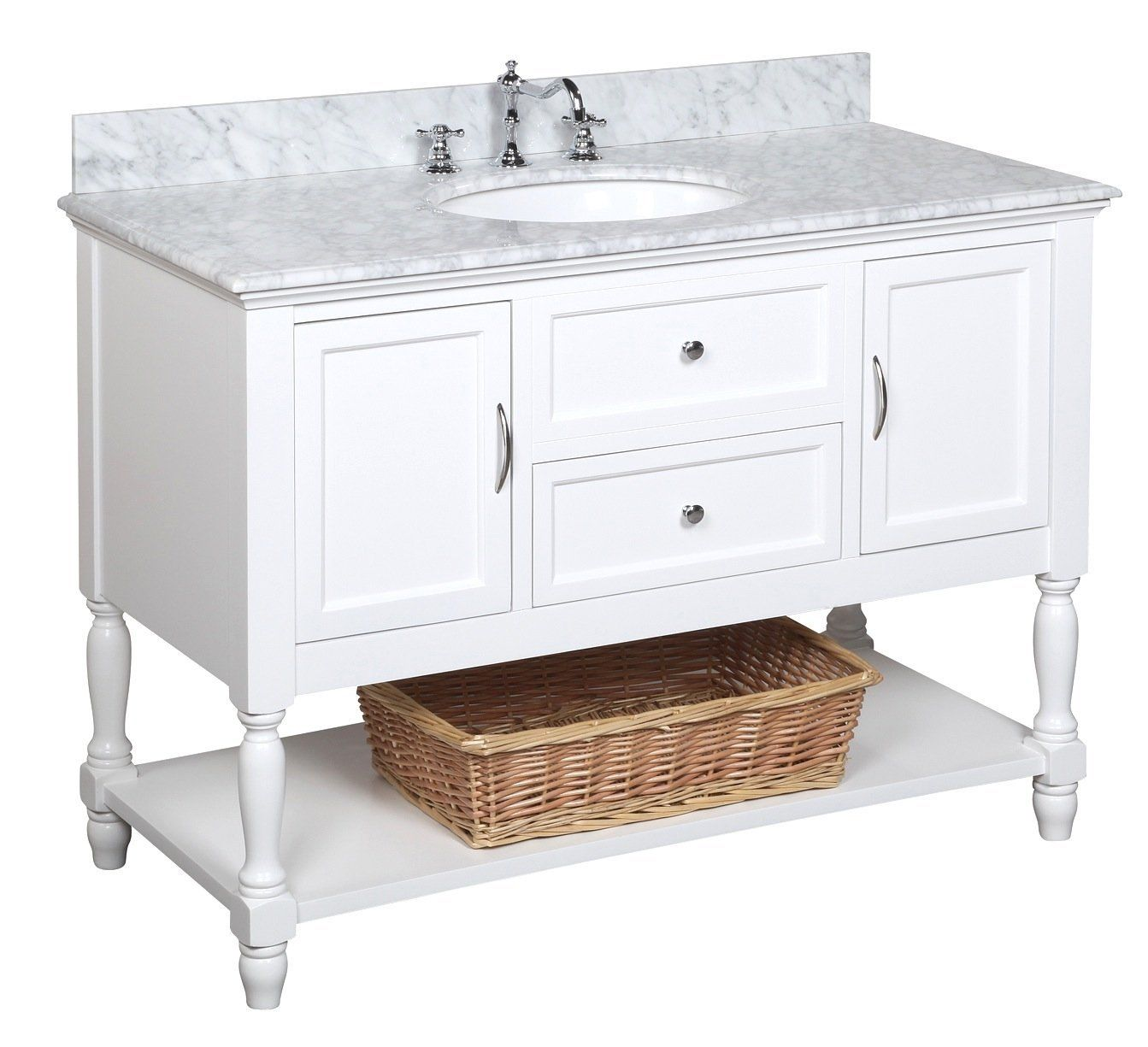 Kitchen Bath Collection Kbc17wtcarr Beverly Bathroom Vanity With Marble Countertop Traditional Bathroom Vanity 48 Inch Bathroom Vanity Single Bathroom Vanity