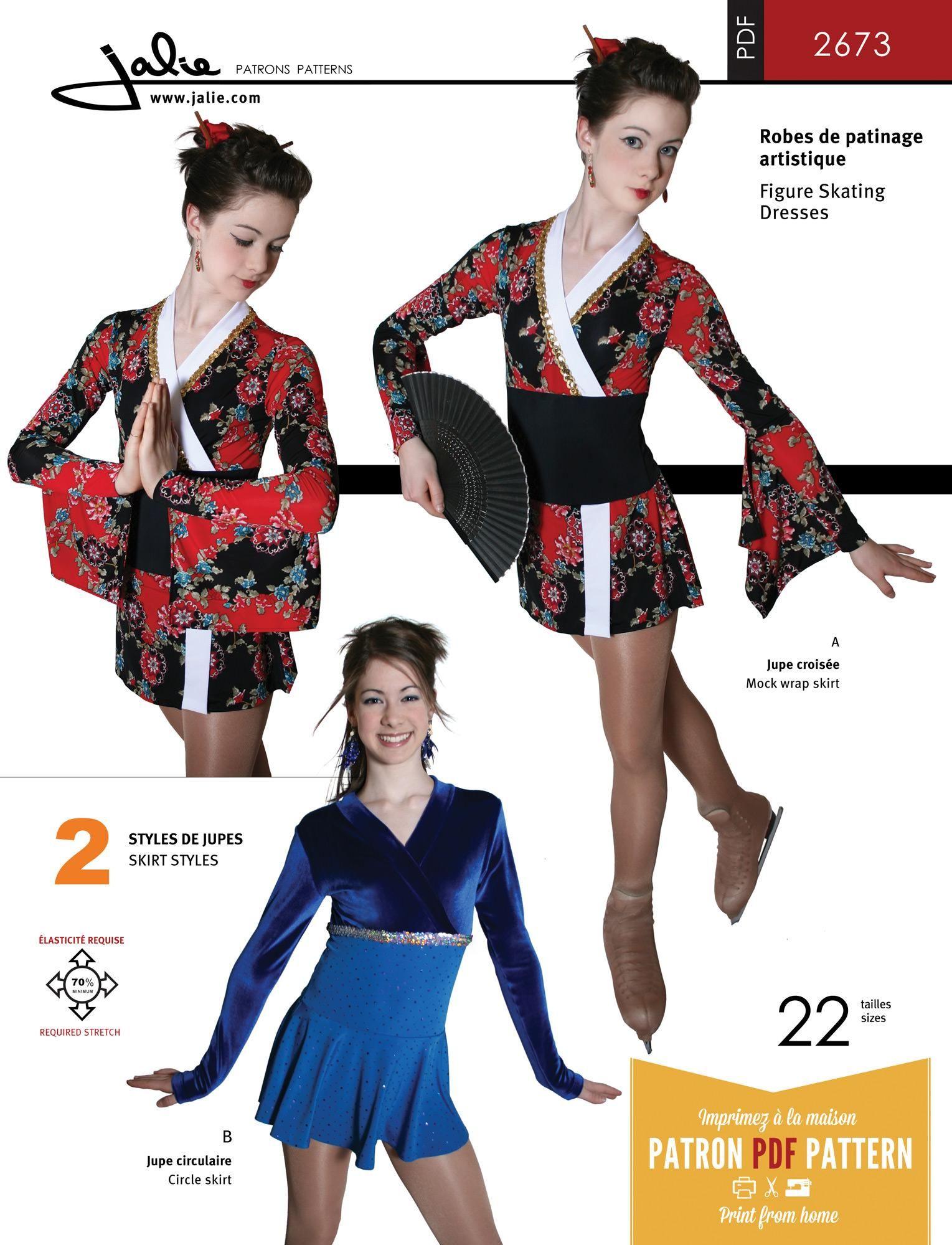 Jalie 2673 - Kimono / Surplice Neckline Skating Dress PDF Pattern ...