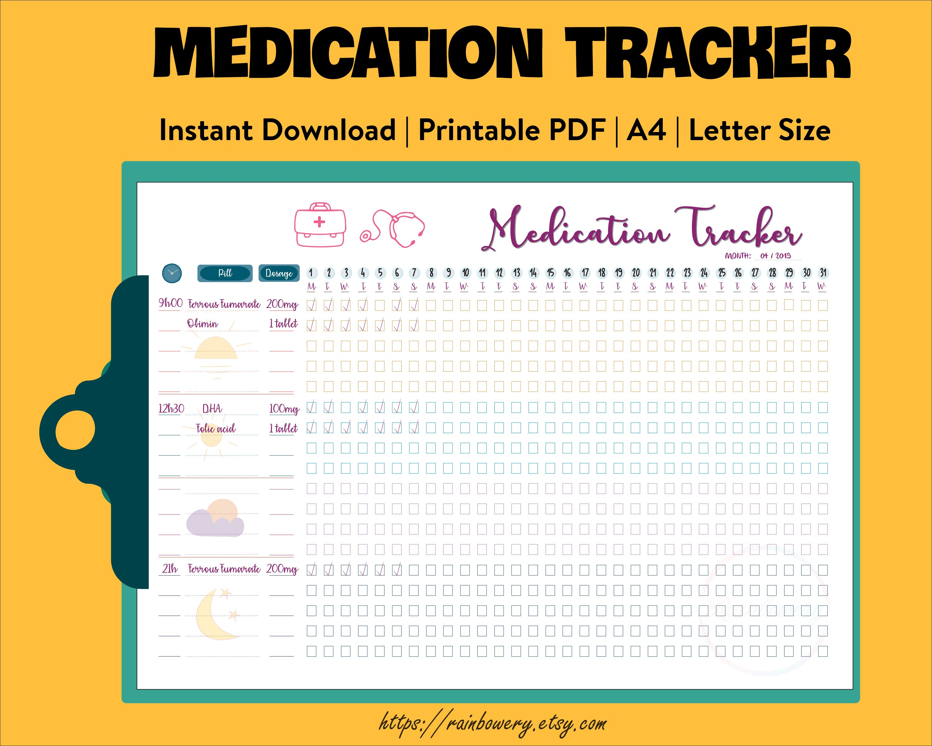 Prescription Log Planner Inserts for use with Happy Planner Classic Size 7 7.00x9.25 inches