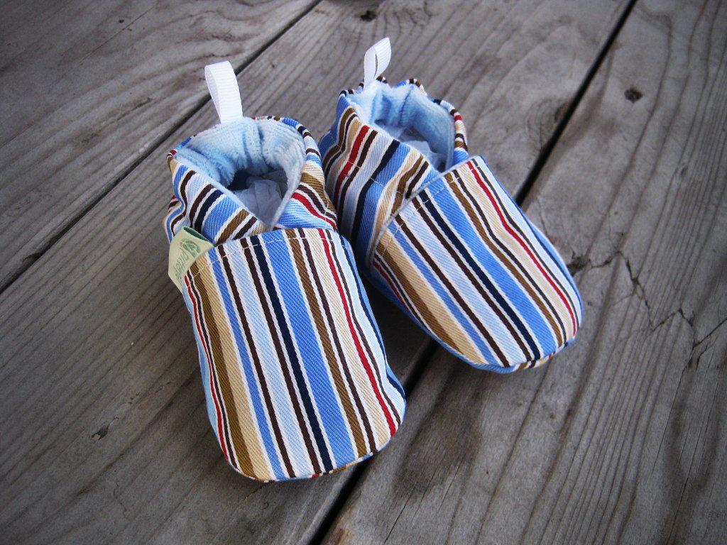 Blue+Boy+Stripe+All+Fabric+Soft+Sole+Shoes+by+LittlePitterpat,