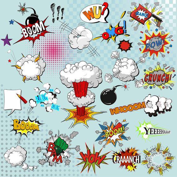 Superhelden Text Clipart Comic Von BHdigitalBox