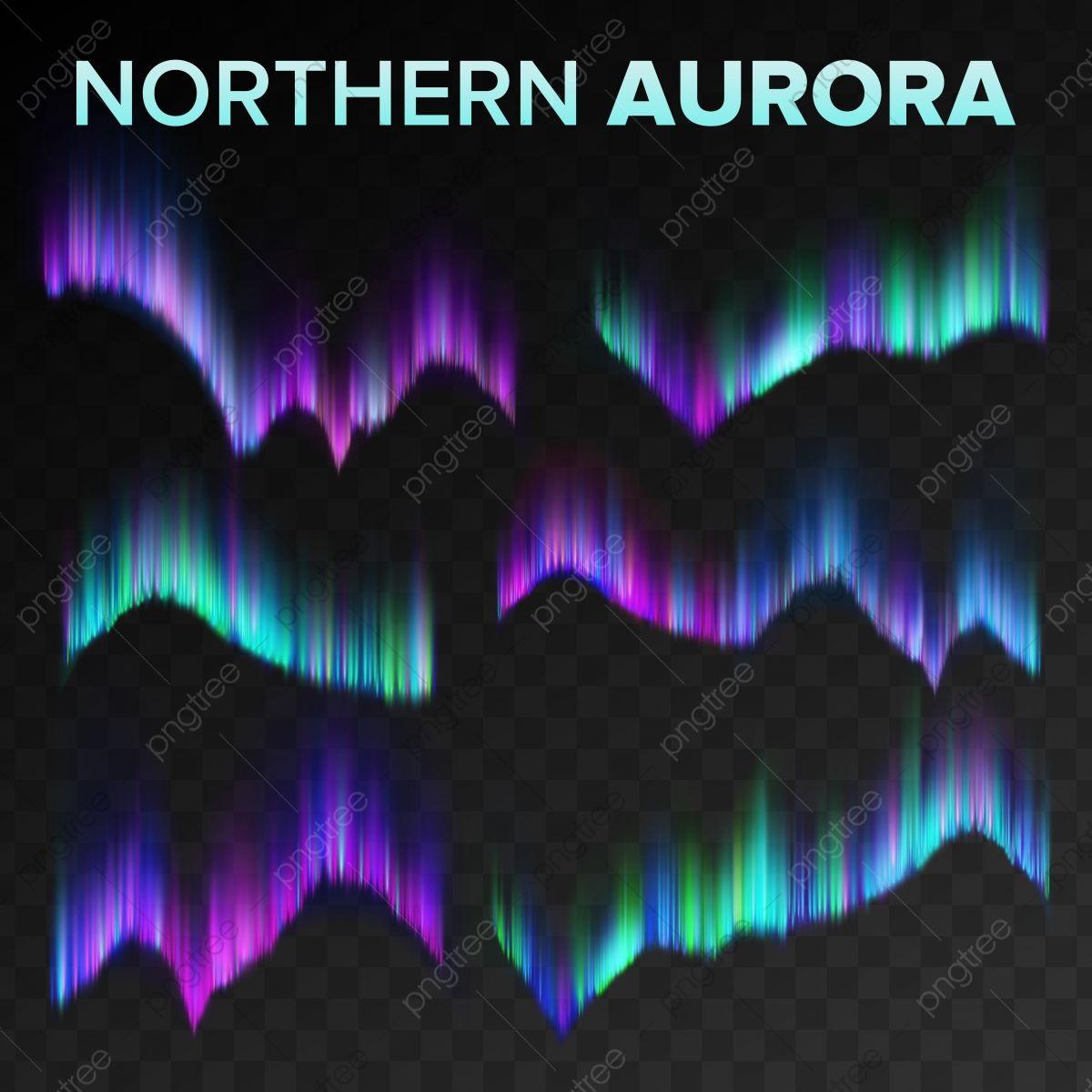 Northern Aurora Set Vector Polar Sky Night Shiny Magical Phenomenon Black Transparent Background Abstract Aurora Borealis North Mystery Atmosphere S Realistic I Aurora Aurora Borealis Simple Background Images