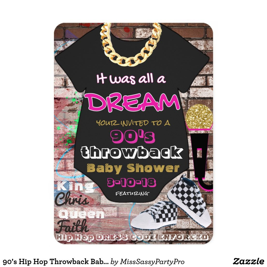 It Was All A Dream 90 S Throwback Baby Shower Invitations