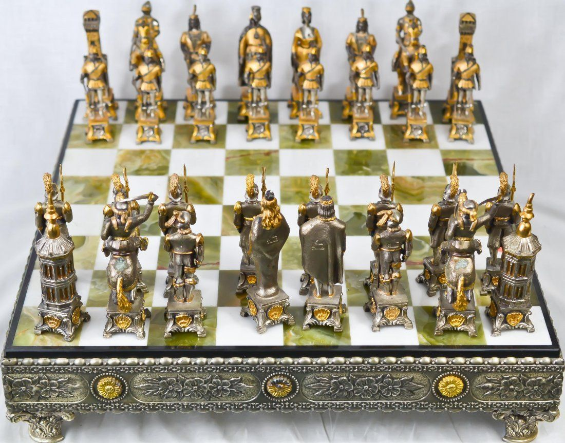 Gold Chess Pieces Vintage Silver Gold Over Bronze Chess Set Chess Chess Chess