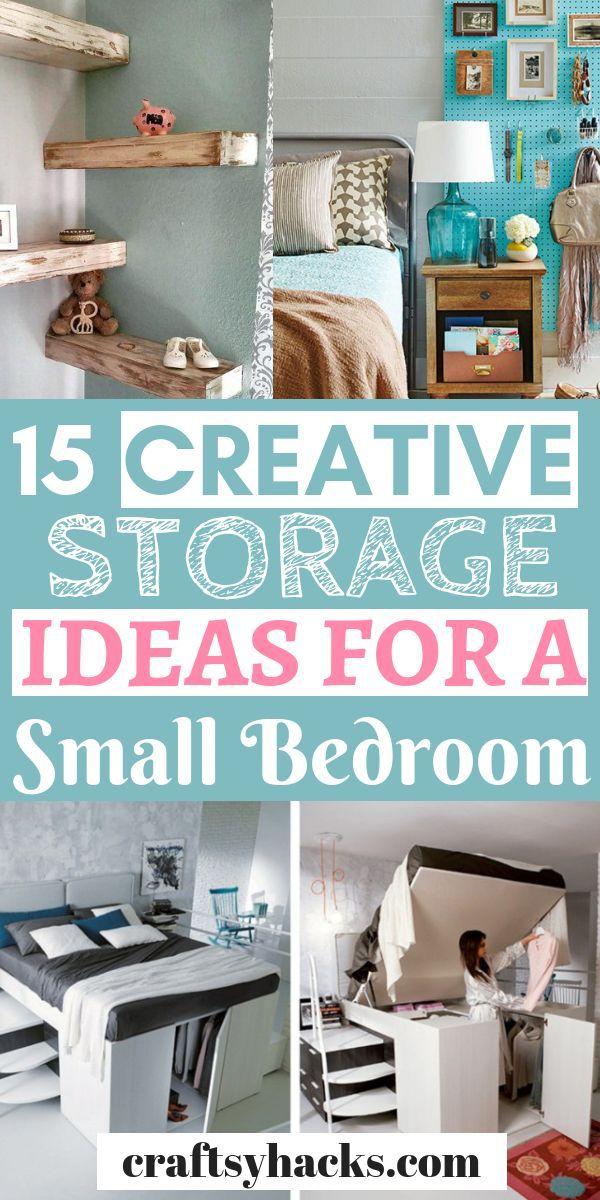 15 Stylish Small Room Storage Hacks Small Bedroom Storage Small Bedroom Organization Small Room Organization