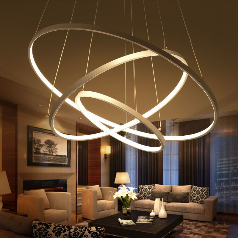 Details About Modern 3 Ring Pendant Light Acrylic Aluminum Led Chandelier Ceiling Lamp Fixture Eclairage Plafond Lustre Salle A Manger Luminaires Salle A Manger