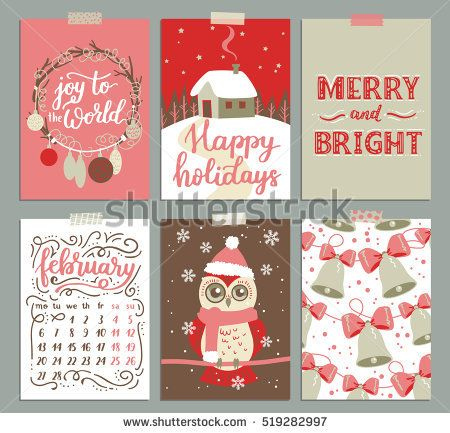 Vector Collection Of Christmas Poster Templates Christmas Set Of