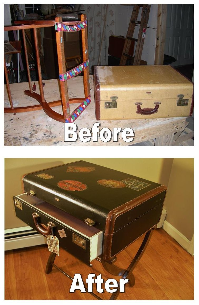 Upcycled U0026 Repurposed Stuff: Upcycled Luggage Rack And Suitcase Into A Side  Table