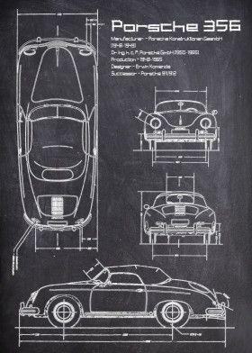 Porsche 356 CHALK   Displate thumbnail