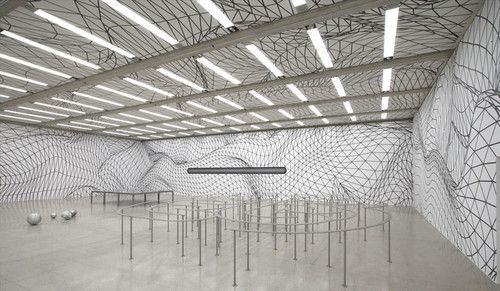 Black and White grid installation