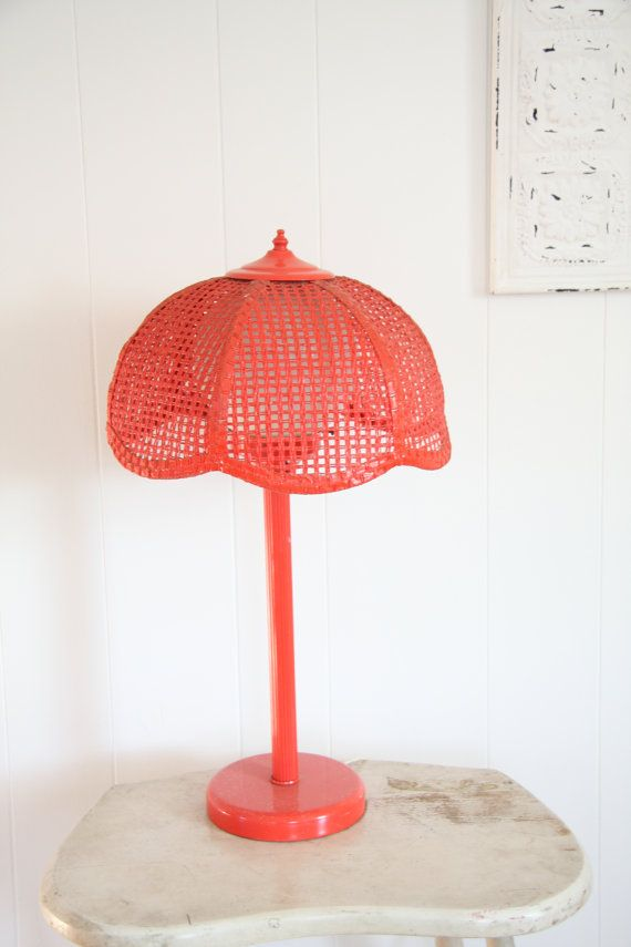 Red Lamp Underwriters Laboratories Vintage Table Wicker Shade Globe Light Retro Home Decor S Room