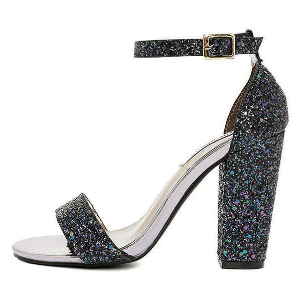 Starla Black Glitter Ankle Strap Heels ($18) ❤ liked on Polyvore featuring shoes, pumps, black, ankle tie shoes, iridescent shoes, ankle wrap pumps, black glitter shoes and black ankle strap shoes