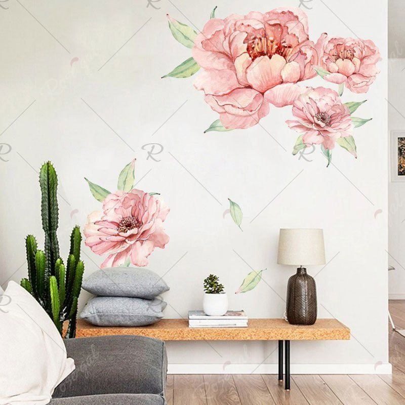 3D Home Art Door Self Adhesive Removable Sticker Living room Flowers Plant Roses